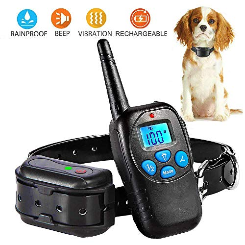 (PetAZ Electric Black Dog Shock Collar Trainion Newest Design Rechargeable Backlight LCD Screen Remote 3 Mode Shock/Beep/Vibration Training Collars for Dog)