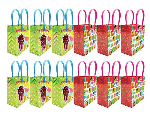 Ice Cream Party Favor Treat Bags, 12 Pack