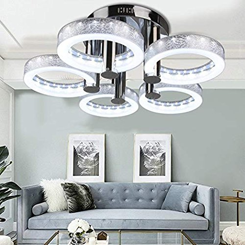 Chandelier Round Modern (Oanon Chandelier, European Modern Style LED Acrylic Chandeliers Ceiling Light Lamp Pendant Lamp with 5 Lights Hallway Dining Room Bedroom [US Stock] (Round))