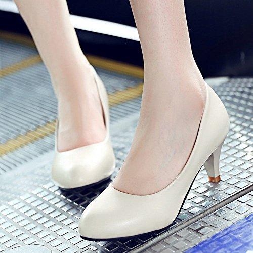 Carolbar Mujeres Cuff Elegance Date Office Lady Mid Heel Zapatos De Tacón De Aguja Beige