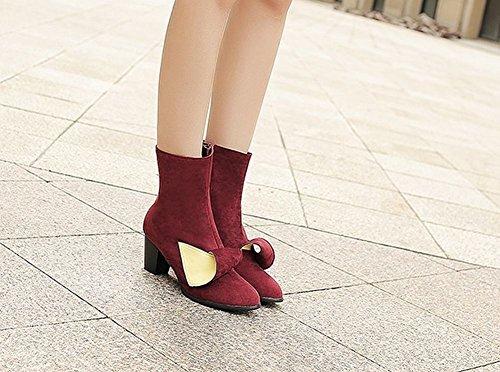 Mee Shoes Damen Blockabsatz Reißverschluss kurzschaft Stiefel Rot
