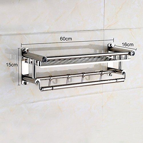 Yontree 2 Tiers Stainless Steel Bathroom Wall Mounted Rack Shelf Haning Holder Shower Storage Towel Bars L-23.6 In.