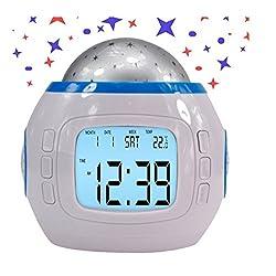 HILOVE Digital LED Alarm Clock Calendar Temperature Display with Sky Star Night Light Projector Lamp(Star)