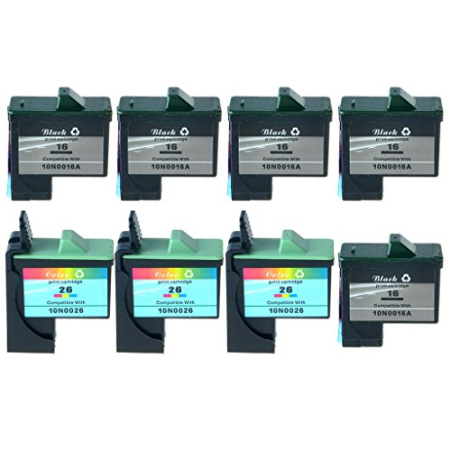 SuperInk 8PK 10N0016 10N0026 Black Color Ink Remanufactured Set For Lexmark #16 #26 Ink Cartridge Combo Pack Z23e Z24 Z25L Z34 Z500 Printers,410/275 Pages Yield(5 Black+3 Color)