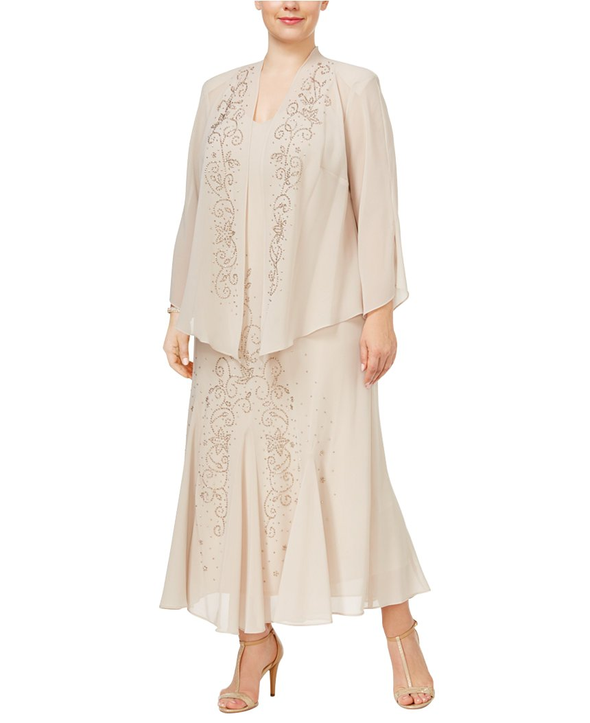 Cottagecore Dresses Aesthetic, Granny, Vintage  Plus Size Beaded Jacket Dress - Mother of The Bride Dresses R&M Richards Womens $144.99 AT vintagedancer.com