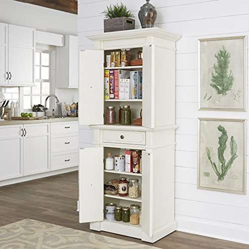 72'' Kitchen Pantry Made of Hardwood in Weathered White Color With Adjustable Shelf in Each Section Organize Your Kitchen Space and Items Buy Yours Now! by eCom Fortune