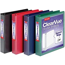 "Cardinal 1.5"" D-Ring Presentation View Binders, 3-Ring Binder, Holds 375 Sheets, Nonstick, PVC-Free, Assorted, Black, Red, Blue, Green, 4 Pack (29300)"