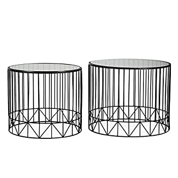 Adeco 2016 New Home Garden Patio Accent Metal Nesting Side End Tea Coffee Tables, Black, Two piece Set