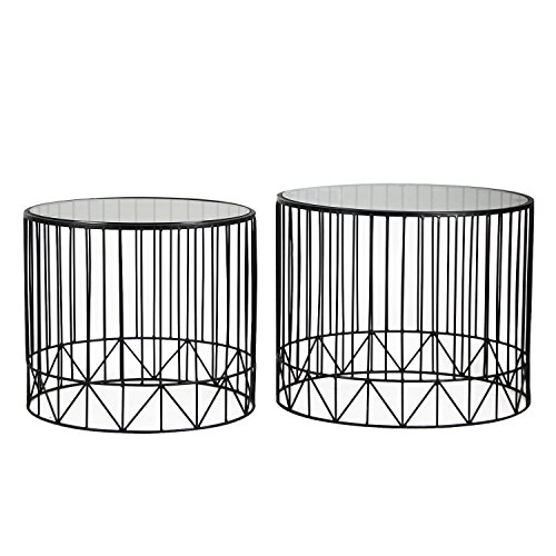 Joveco Black Accent Metal Round End Table Nesting Coffee Table with Glass Top, Set of 2