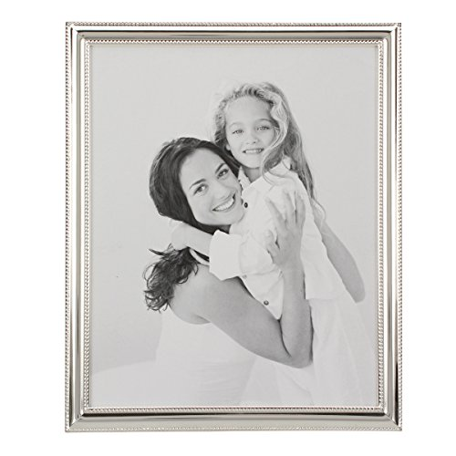Birthday Photo Border - Stonebriar Decorative Silver Metal Photo Frame with Textured Border and Easel Back Stand, Elegant Wedding Picture Frame, Gift Idea for Engagements, Birthdays, and Anniversaries, 8x10