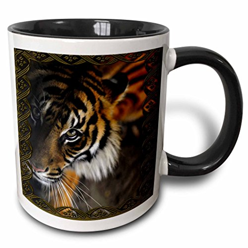 3dRose 108066_4 Beautiful Bengal Tiger Print And Frame Two Tone Black Mug, 11 oz, White
