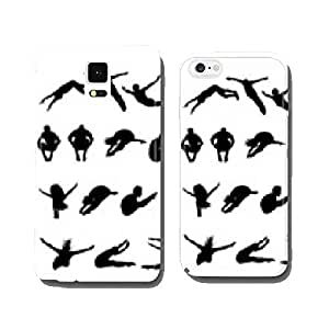 Silhouettes of jumping into the water, vector cell phone cover case Samsung S6