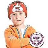 Charlxee Kids Headphones,Volume Limiting,Ultra Thin Speakers Soft Children Fleece Headband,Adjustable Cozy Headset with Mic,Orange Puppy Toddler Headphones for Travel,Home,School,Gift-Orange