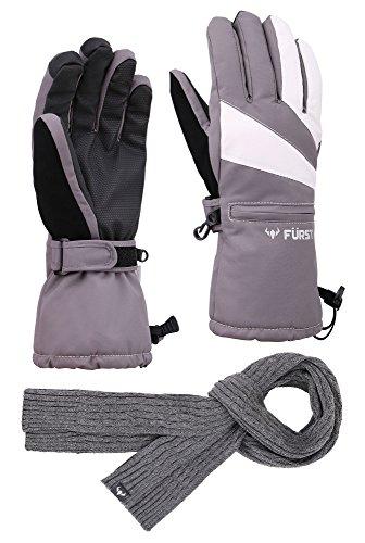 - FURST Women's Storm Touchscreen Winter Ski Gloves + Scarf Set, Pocket, Thinsulate, Waterproof, Grey, M