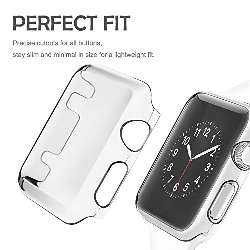 Apple Watch Snap On Clear Case Full Protection + Screen Protector Built in Bumper Slim Skin [Watch Hard Cover] Corner Protective Case Shockproof Ultra Thin Series 1 & 2 Accessories - Hard Protector Zebra Skin