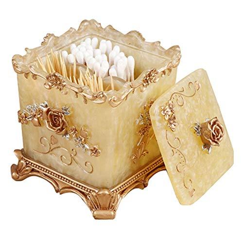 Easycomf Bathroom Vanity Storage Box Organizer Dispenser Holder for Toothpick, Cotton Balls, Cotton Swabs, Makeup Sponges, Bath Salts, Hair Ties, Jewelry (Champagne Gold)