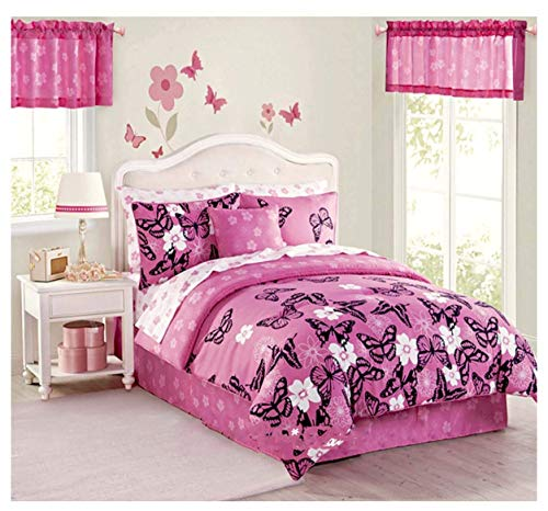 Butterfly Girls Pink & Black Reversible Comforter & Sheet Set + Two Window VALANCES + ONE TOSS PILOW (9pc Twin Size Room - Valance Garden Tailored