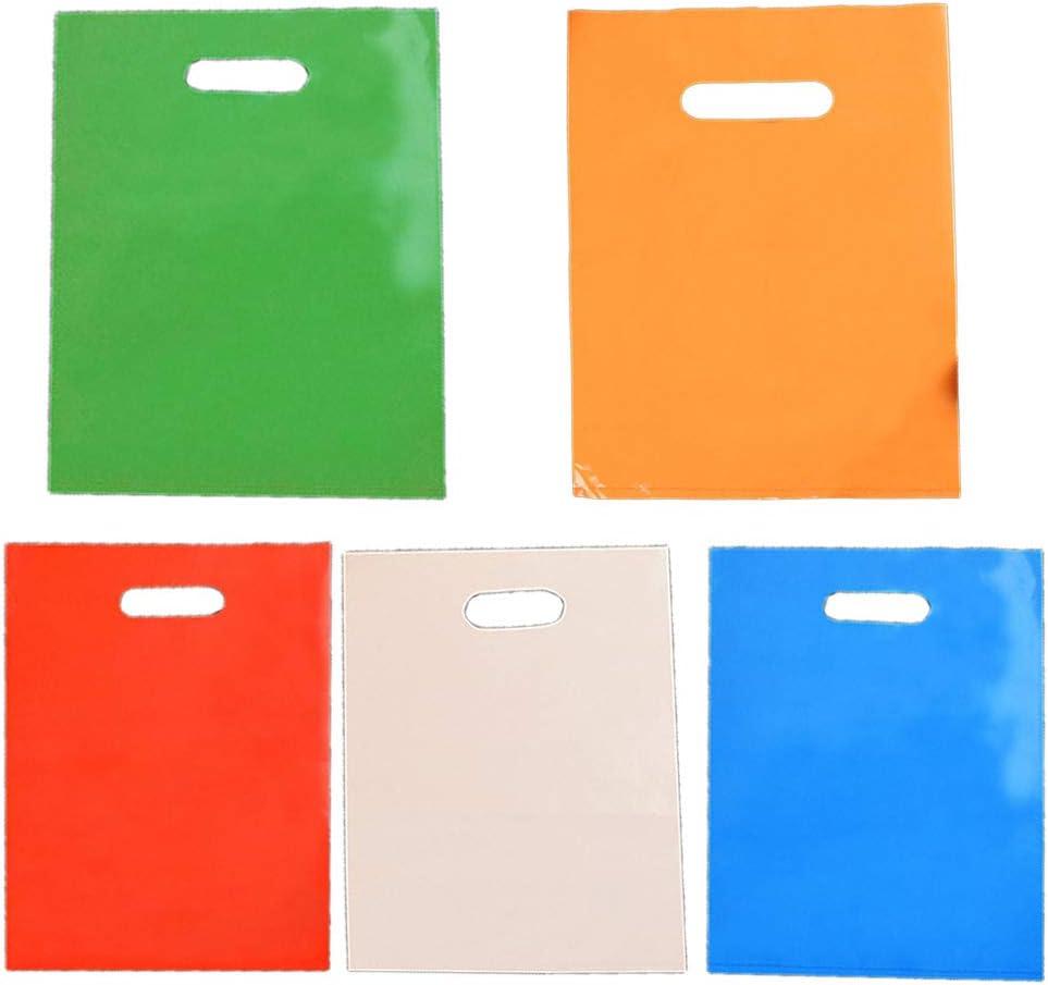 Bolsas de plástico de STOBOK 50 piezas de productos de venta al por menor con manijas troqueladas para comprar ropa de regalo (el color es aleatorio, 25x35cm)