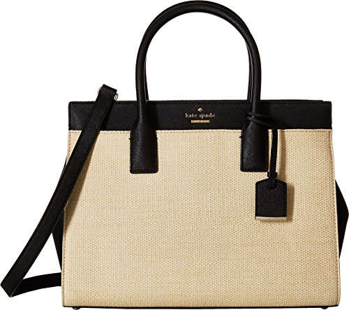 Kate Spade New York Women's Cameron Street Straw Candace Satchel Natural/Black One Size (Top Woven Zip Satchel)