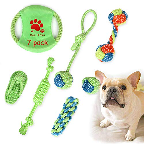 Dog Tough Rope Chewer Toys - Dog Tug of War Dog Indestructible Toy Teeth Cleaning for Aggressive Chewers Large Breed and Small Medium Breed - Washable Cotton Rope Dog Toy Set of 7