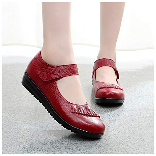 Bombas Baile De Mujer Zapatos Mary Trabajo Planos Mocasines Jane Oficina Red Casuales qwSIq5Zx