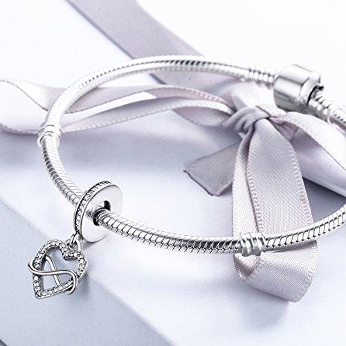 BAMOER Sterling Silver Infinity Love Symbol Dangle Heart Beads Charm for Bracelet by BAMOER (Image #3)