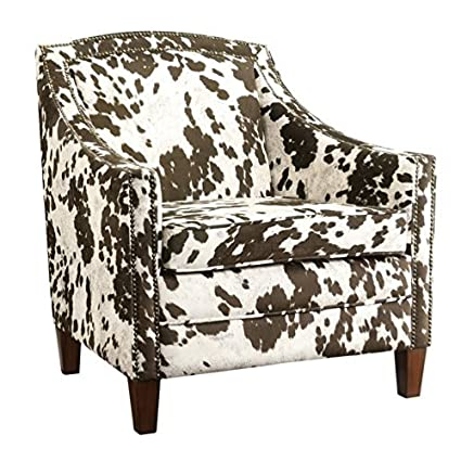 Fine Amazon Com Bowery Hill Cow Pattern Accent Chair In Brown Gmtry Best Dining Table And Chair Ideas Images Gmtryco