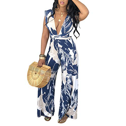 AEL Women's Casual Sexy Off Shoulde Printed Jumpsuit Wide Leg Long Pants Rompers with Belt (Blue, L)