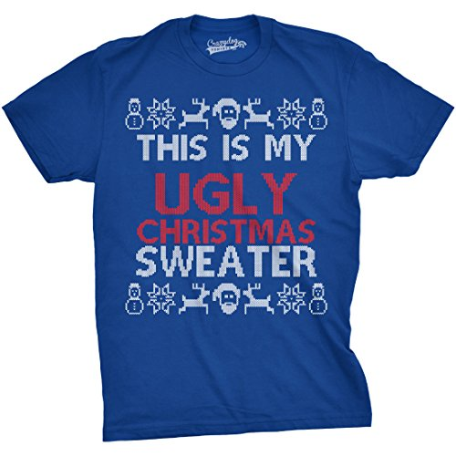 Crazy Dog TShirts - Mens This Is My Ugly Christmas Sweather Funny Holiday Xmas T shirt - Divertente Uomo Maglietta