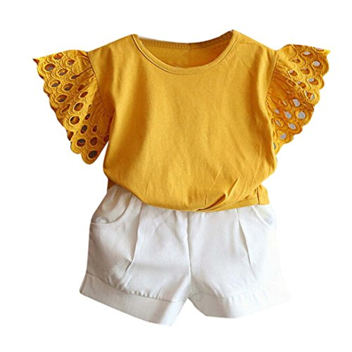 Stretch Cap Spring Trainer Fit - TIFENNY Clearance Baby Girl Outfit Clothes Hollow Sleeve T-shirt+Short Pants Set (3/4T, Yellow)