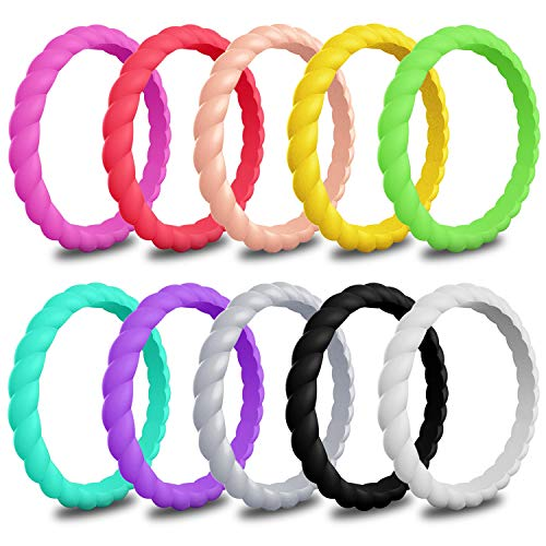 LUNIQI 10 Pack- Silicone Wedding Ring for Women, Braided Thin and Stackable Durable Rubber Safe Band for Love, Couple, Souvenir and Outdoor Active Exercise Style