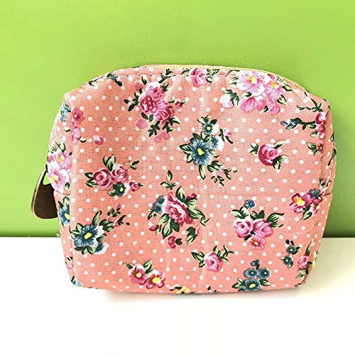 Flower Pattern Fashion Key Card Storage Coin Purse Earphone Container Wallet (color - pink)