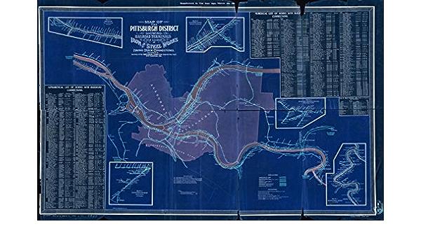 Vintography 18 x 24 Blueprint Style Reproduced Old Map 1906Rio de Janeiro Tramway Lines in Rio Pearson Frederick Stark 6484BL/_ Rio de Janeiro Brazil : Tramway R.R Light /& Power Co