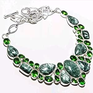 Serafinite and Peridot natural gemstone sterling silver jewelry necklace