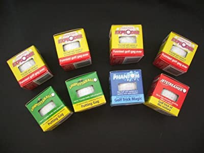 Lot 8 Trick Golf Balls Jokes Exploding, Mist, Wobble, Streamer with Free Pocket Calculator