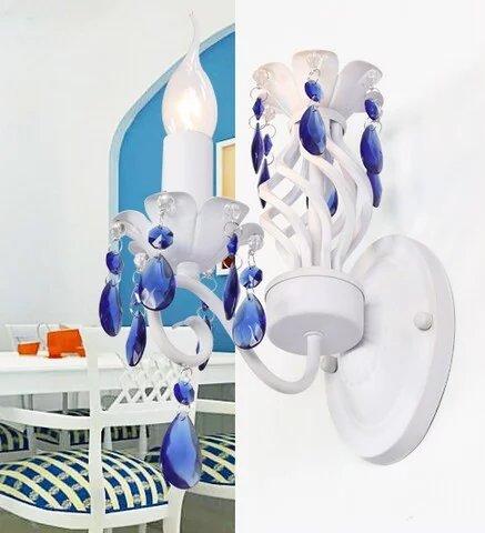 HOME UK-Mittelmeer-blauen Kristall Wohnzimmer Restaurant Schlafzimmer Nachttischlampen Wandleuchte Schmiedeeisen Lampe