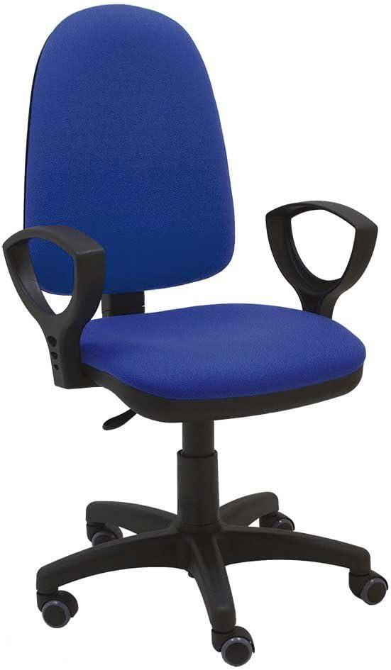 La Silla de Claudia - Silla giratoria Torino azul ergonómica reposabrazos y asiento ajustable con ruedas de parquet y contacto permanente