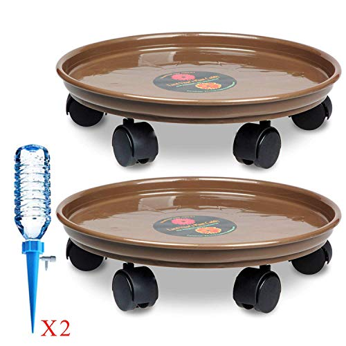 """Murilan 14"""" Large Rolling Plant Caddy,Round Flower Pot Mover,Rolling Planter Dolly on Wheels,Planter Dolley Tray Coaster (2 Pack)"""
