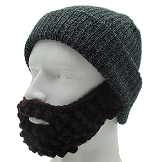 193a7d37add YEKEYI Unisex Wacky Beard Hat Knit Funny Beanie Halloween Cap Wind Mask  Black