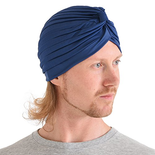 Casualbox Twist Pleated Head Wrap Turban Bonnet Fortune Teller Hat Retro Vintage Indigo Blue (Bonnet Vintage)