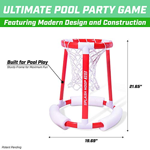 51AomJTwzRL - GoSports Splash Hoop 360 Floating Pool Basketball Game | Includes Water Basketball Hoop, 2 Balls and Pump