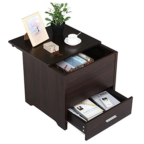 Yaheetech Wood Bedside Table Cabinet Storage Drawer Sliding Top Sofa Side End Table Bedroom Living Room Furniture Espresso, Set of 2, Espresso by Yaheetech