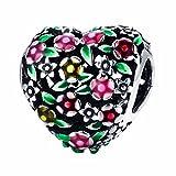 BAMOER 925 Sterling Silver Heart Charm Bead Love Charm Fit Snake Chain Bracelet Spring Flower Charm
