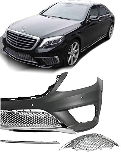 EAX Compatible with Mercedes S Class 14 15 16 17 W222 S63 Replacement for AMG Style Bumper Cover with Front End Fascia Kit Chrome Trim 2014 2015 2016 2017 Brand by EAX (Image #4)