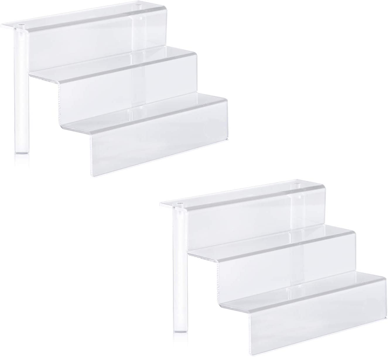 Winkine Acrylic Display Shelf, 2 Pack Acrylic Display Makeup Stands 3 Tier Acrylic Riser Displays, Clear Display Shelf Organizer for Cabinet, Countertops, Tabletop Desktop