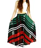 YSJ Womens Plaid Long Maxi Skirt - 360 Sunray Pleated Bohemian Full Skirt Skirts 1640