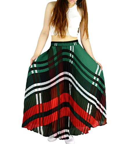 YSJ Womens Plaid Long Maxi Skirt - 360 Sunray Pleated Bohemian Full Skirt Skirts 1640 by YSJERA