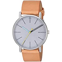 Skagen Men's 'Signatur' Quartz Stainless Steel and Leather Casual Watch, Color:Brown (Model: SKW6373)