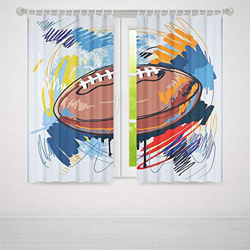 YOLIYANA Decor Collection,Sports,for Living Room,Diamond Shape Rugby Ball Sketch with Colorful Doodles Professional Equipment League2 Panel Set,59W X 65L Inches