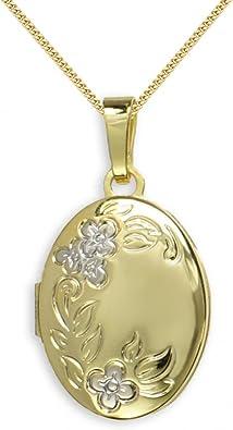 HausderHerzen.de Medaillon 333 Gold Oval Anh/änger
